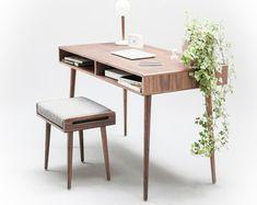 Solid Walnut board desk Bureau dressing table by Habitables