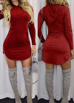 Wine Red Hooded Collar Mini Dress
