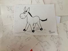 First inked picture of Dodi the Donkey.  See the sketches of development :)