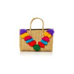 Nannacay Positano Allegra Tote ($260) ❤ liked on Polyvore featuring bags, handbags, tote bags, handbags totes, straw purses, straw tote handbags, straw tote and tote purse