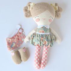 "A little custom doll makes for a fun day at ""work"". I love making new dolls, it makes my job so interesting! Tiny Dolls, New Dolls, Soft Dolls, Tilda Toy, Sewing Dolls, Doll Crafts, Custom Dolls, Fabric Dolls, Handmade Toys"