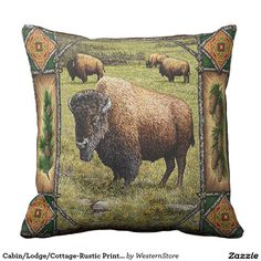 Cabin/Lodge/Cottage-Rustic Print Bison on Prairie