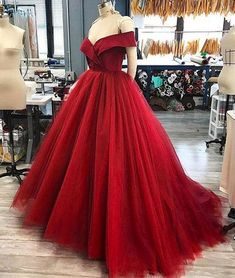 Red off shoulder tulle long prom dress, ted tulle long evening dress, tulle formal dress
