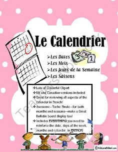 Calendar Activities--for the whole class and all in FRENCH! from KidsLoveSchool… Learning French For Kids, Ways Of Learning, Teaching French, Core French, French Days, French Basics, September Activities, Calendar Activities, French Worksheets