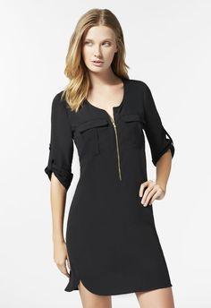 Vêtements Zipper Front Shift Dress en Black - Livraison gratuite sur JustFab