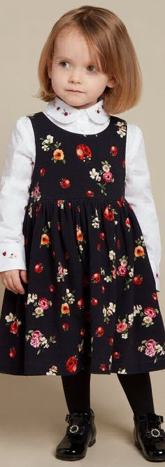 SALE !!! DOLCE & GABBANA Girls Black Floral Print Dress &  White Cotton Blouse. Adorable Party Dress for Little Girls. Designed by the Famous D&G Fashion House. Luxury Fashion for Girls on Sale!