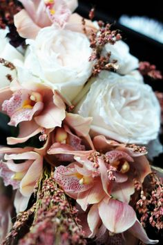 peach and blush cymbidium  - this is a stunning variety, especially with these ultra-romantic garden roses. Alabaster, I think.