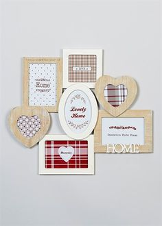 Wooden Multi Aperture Heart Shaped Frame (41cm x 47cm)