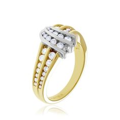 14kt yellow and white gold diamond ring.