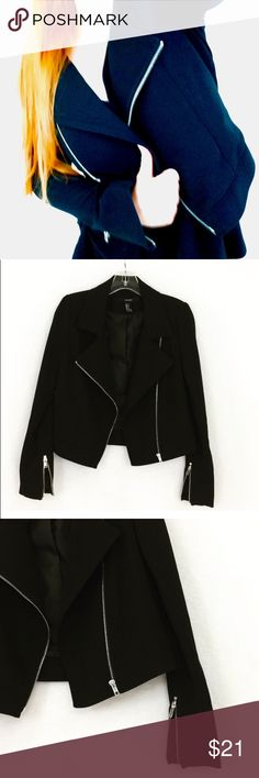 Black moto jacket cropped Blazer small silver zip Same or next day shipping! Designer: forever21  Size small Like new condition!  Black with silver zippers cropped style Blazer moto jacket Forever 21 Jackets & Coats Blazers