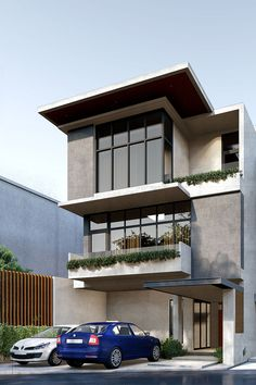 An approach to modern Mediterranean architecture, the site is located in Baguio which is known for its cold climate and steep hills, this gives the opportunity to use large windows to maximizes the view of the city Modern Residential Architecture, Mediterranean Architecture, Baguio, Large Windows, Design Firms, Philippines, Opportunity, Cold, Mansions
