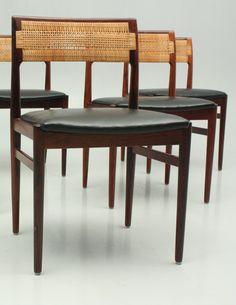 Erik Wørts; Rosewood, Cane and Leather Side Chairs for Henrik Wørts Møbelsnedkeri, 1957.