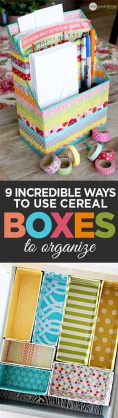 Cereal boxes, cereal box organization, DIY organization, popular pin, repurposed… - Storage and Organization Diy Storage Boxes, Craft Storage, Easy Storage, Storage Organizers, Storage Ideas, Cereal Box Organizer, Diy Paper, Paper Crafts, Diy Rangement