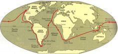 map of Drake's voyage around the world