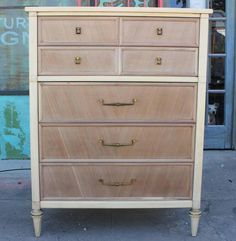 Glamorous Bleached Wood Dresser / Chest with Brass Accents | From a unique collection of antique and modern dressers at https://www.1stdibs.com/furniture/storage-case-pieces/dressers/
