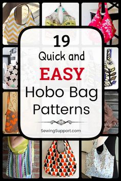 Hobo Bag DIY: Over a dozen free & easy hobo bag patterns, tutorials, and diy sewing projects. Sew crossbody, slouchy, and sling purses. Great project for a beginner to sew. Diy Sewing Projects, Sewing Projects For Beginners, Sewing Hacks, Sewing Tutorials, Sewing Tips, Bags Sewing, Sewing Crafts, Bag Pattern Free, Sewing Patterns Free