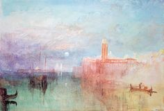 Moonrise, La Giudecca, Venice, watercolor by Joseph Mallord William Turner, 1829. It is difficult to imagine a more beautiful image than this simple watercolor. In it you can see the color poetry that lead, eventually, to Impressionism, and the haystacks of Monet.