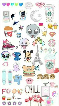Find images and videos about wallpaper, background and emoji on We Heart It - the app to get lost in what you love. Tumblr Stickers, Phone Stickers, Cute Stickers, Planner Stickers, Kawaii Drawings, Disney Drawings, Cute Drawings, Random Drawings, Emoji Wallpaper