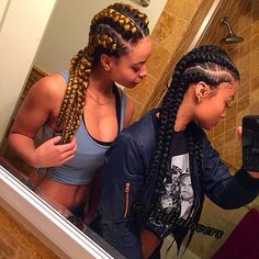 Squad Shxt Sisters India Crystal Westbrooks Braid Straight Back Ghana Cornrow Kanerow Plait African American Women Hairstyles Style Hair Extensions