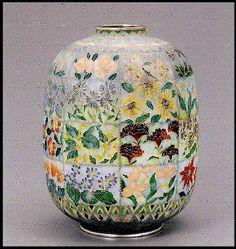 "Yohko Yoshimura, Japanese Cloisonne Artist - Cloisonne Flower Pod, ""Flowers by Seasons   W x 16.6 H x 20.8 cm"