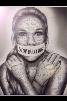 Stop bullying artwork by kristina Webb people need to understand that words hurt? how many more teenagers need to die to figure out that bullying is wrong? Anti Intimidation, Kristina Webb Art, Kristina Webb Drawings, Stop Bulling, Ps Wallpaper, Deep Drawing, Arte Obscura, Anti Bullying, Cyber Bullying