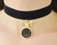 islamic silver ayatul kursi Allah choker muslim jewelry black