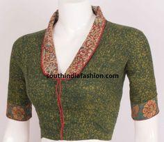 Batik Printed Cotton Blouse With Collar Neck Saree Jacket Designs, Cotton Saree Blouse Designs, Fancy Blouse Designs, Saree Blouse Patterns, Salwar Neck Designs, Dress Neck Designs, Collar Designs, Linen Blouse, Blouse Dress