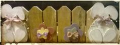 Easter picket shelf fence deco. Fence is from a pallet.