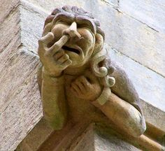 you can't make this stuff up! Gargoyle picking his nose ! (@Dinah Welch Welch Prine)