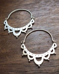 lace antiquity hoop earrings - hand crafted sterling silver lace jewelry