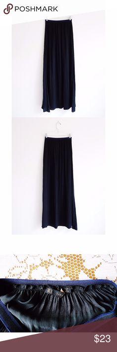 "Zara Basic Black Maxi Skirt size S - NWOT Zara Basic Black Maxi Skirt size Small, new and never worn NWOT, stretch waistband, pleating at waist, full length, 100% polyester, 12"" across waist, 40.5"" waist to hem Zara Skirts Maxi"