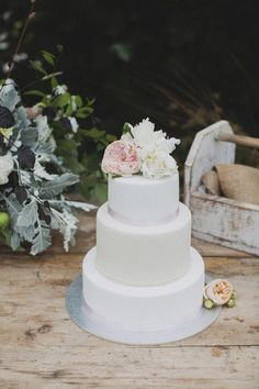 Simple wedding cake. Yellow and/or navy ribbons around each tier with lace, maybe some flowers up top