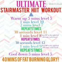 Fitness Cardio And Lift Weight - Ultimate stairmaster HIIT cardio workout routine For years we have been told that cardio is the best way to eliminate fat and lower those extra pounds. And by cardio I mean low intensity aerobic exercise, you know, jogging Stairmaster Workout, Cardio Workout Routines, Step Workout, Squat Workout, Workout Warm Up, Plank Workout, Toning Workouts, Easy Workouts, Elliptical Workouts