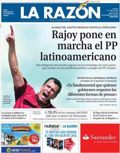 Los Titulares y Portadas de Noticias Destacadas Españolas del 14 de Abril de 2013 del Diario La Razón ¿Que le parecio esta Portada de este Diario Español?