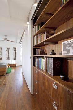 Transformer Loft - modern - kitchen - new york - Studio Garneau Cheap Room Dividers, Sliding Room Dividers, Sliding Wall, Sliding Doors, Living Room New York, Home And Living, Living Spaces, Modern Living, Tiny Living
