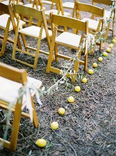 wedding styling ideas - aisle decor - lemon aisle runner