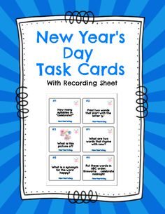 Great editable classroom materials @teachersherpa The New Year's Day Task Cards package contains 24 task cards and a recording sheet. Students look at each task and record their response on the recording sheet. Questions focus on a variety of skills including compound words, rhyming, ABC order, writing sentences, prefixes, plurals, etc.