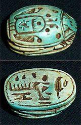 Escarabeo: Representación del dios-escarabajo Jepri. Simbolizaba al sol naciente; amuleto de vida y poder, protector contra males y símbolo ...
