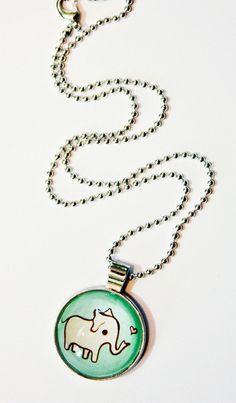 Pink Elephant Charm Necklace