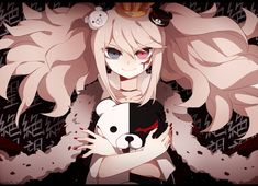 bicolored eyes blood crown dangan-ronpa enoshima junko monokuma shouen kigashi | konachan.com