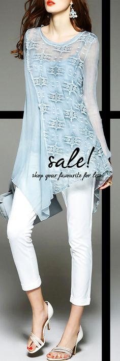 Sexy Mesh Hi-Lo Tops is Waiting for You! Light Blue Silk Blouse from VIPme.com is on Sale Now.