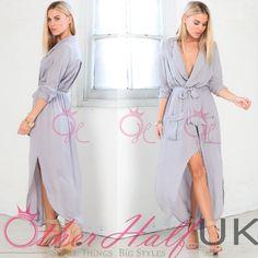 UK WOMENS LADIES SPLIT MAXI LONG DRESS SHIRT EVENING PARTY WRAP TUNIC SIZE 8-16   Odzież, Buty i Dodatki, Odzież damska, Sukienki   eBay!