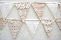 Continuing the lace feel throughout the wedding will enhance your theme. This beautiful lace bunting is ideal for a shabby chic feel.