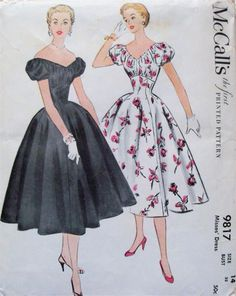• BRAND: Simplicity • #: 9817 • DATE: 1954 • SIZE: 12 • BUST: 30 • WAIST: 25 • HIP: 33 • PRINTED: Yes • CUT/USED: Yes • COMPLETE: Yes • ENVELOPE CONDITION: No envelope..... envelope shown for illustration purposes only. Description: Misses' dress with gathered bodice, short puffed sleeve with gathers, fitted waist and full skirt. Could be worn off shoulders
