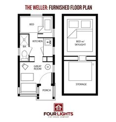 The Marie Colvin   Floor Plans  Tiny House and FloorsThe Weller  Four Lights Tiny Houses  sqft