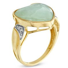 Heart-Shaped Green Jade and Diamond Accent Ring in 10K Gold - Save on Select Styles - Zales