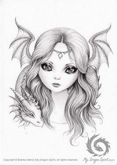ORIGINAL drawing: Dragon fairy fae art elven by MyDragonSpirit Fairy Drawings, Pencil Art Drawings, Art Drawings Sketches, Cute Drawings, Fairy Coloring Pages, Coloring Book Art, Adult Coloring, Fairy Art, Colorful Drawings