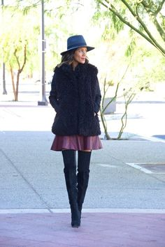Cold weather look in a cable knit sweater and fuzzy vest fab found @ mashalll. Over the knee boots, street style fall style, fall layers