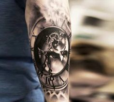 Awesome black and grey 3D clock tattoo works by tattoo artist Oscar Akermo