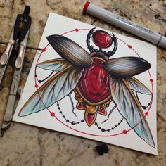 Watercolor  #scarab #art